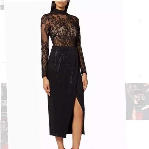 67f443313714 Self portrait black lace beaded midi dress sz 8. M_5b44cd3a2e147856bbf6d9d0